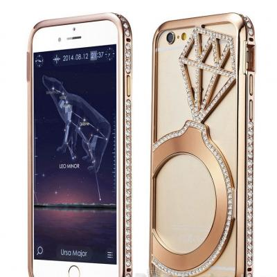 COQUE IPHONE 6 S OR ROSE STRASS BAGUE DIAMANT BOHO BOHEME CHIC V0219