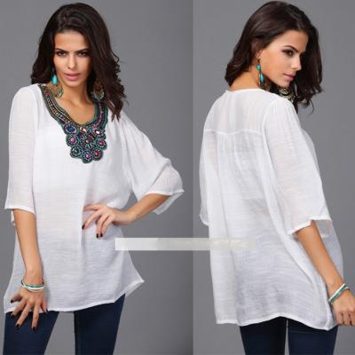 TOP BLOUSE TUNIQUE ENCOLURE BIJOU BOHO BOHEME CHIC F0141