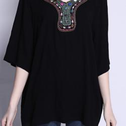 TOP BLOUSE ENCOLURE BIJOU BRODEE BOHO BOHEME CHIC F0347