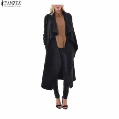 Trench long volants noir boho boheme chic coat0157