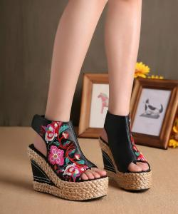 CHAUSSURES BRODEES VINTAGE BOHO BOHEME CHIC I0056