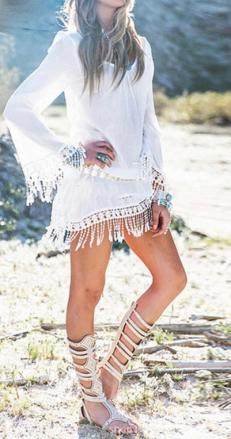 Robe tunique plage franges marque boho boheme chic DRESS1645