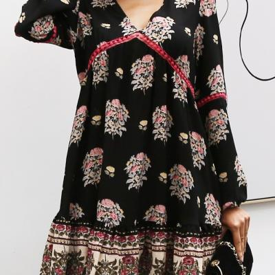 ROBE IMPRIMEE FLEURS BOHO BOHEME CHIC DRESS1478