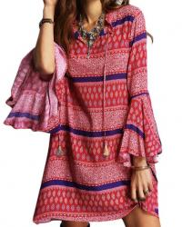 ROBE IMPRIMEE TONS ROUGES  BOHO BOHEME CHIC D1064