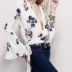 TOP BLOUSE DECOLLETE OUVERT BOHO BOHEME CHIC F0398