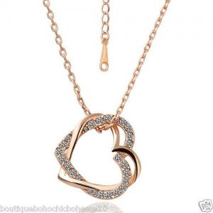 COLLIER 2 COEURS PLAQUE OR ROSE STRASS 18K BOHEME N0113