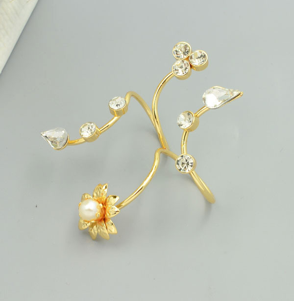 New fashion accessories jewelry punk pearl flower crystal double finger ring for women girl nice gift 1