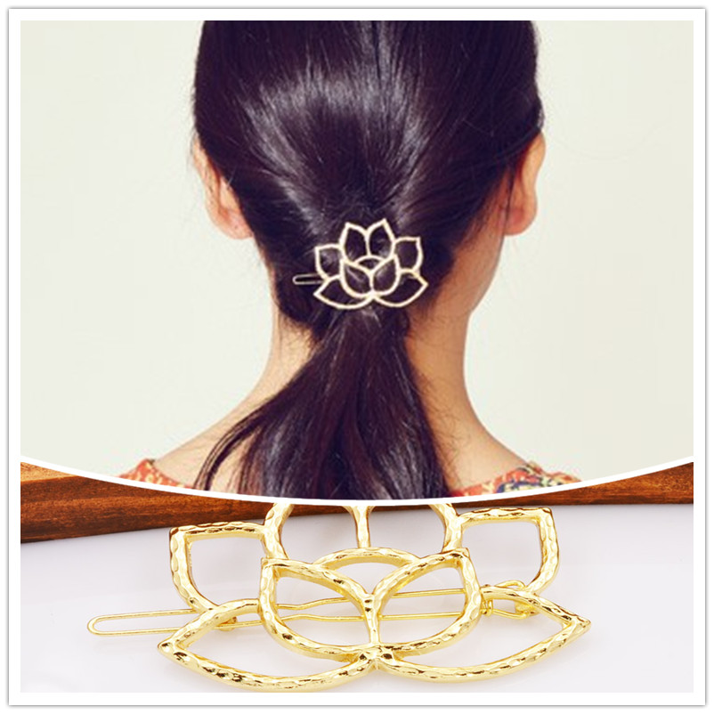 New fashion hairwear gold plated hollow lotus leaf hair pin gift for women girl h402