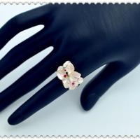 New fashion jewelry rose gold plated pink enamel flower finger ring gift for women girl lovers 1
