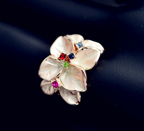 New fashion jewelry rose gold plated pink enamel flower finger ring gift for women girl lovers