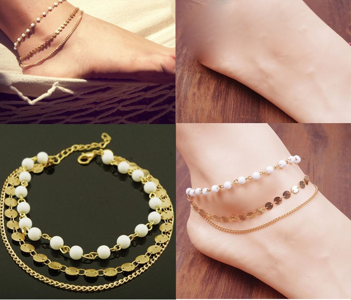 New fashion lady beach multi tassel sequins bare anklet chain foot jewelry anne