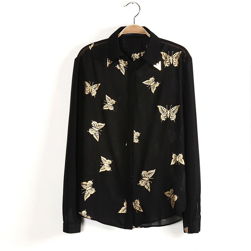 New fashion women blouses 2015 summer casual long sleeve print chiffon blouse shirt plus size women