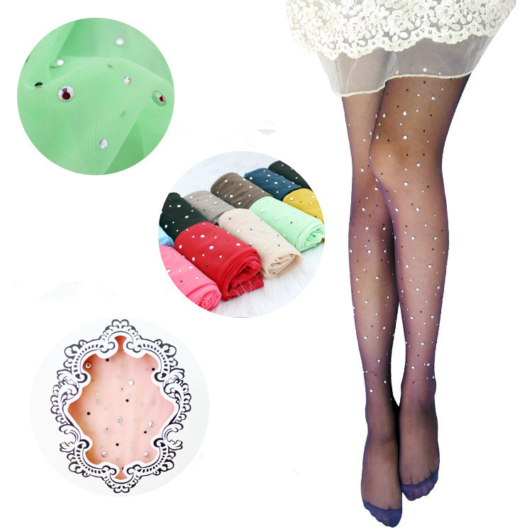 New sexy womens ladies basic stretch woman sexy thin bling crystal rhinestone pantyhose tights stockings free 1