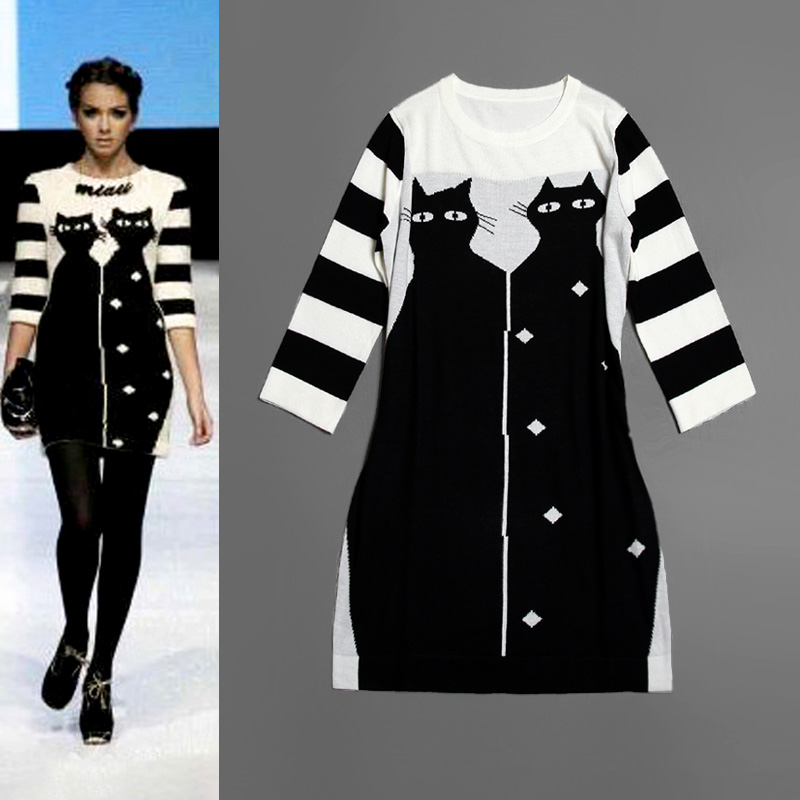 Newest runway dresses 2013 autumn winter fashion women s color block knitted wool sweater dress