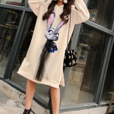 Robe sweater lapin capuche boho boheme chic dress1326
