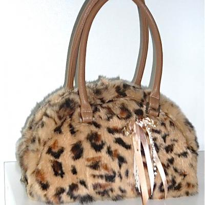SAC A MAIN FOURRURE LAPIN VERITABLE MOTIF LEOPARD C0066