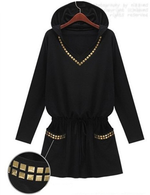 Plus size new 2014 england style punk women winter dress hooded slim long sleeve black dress 1