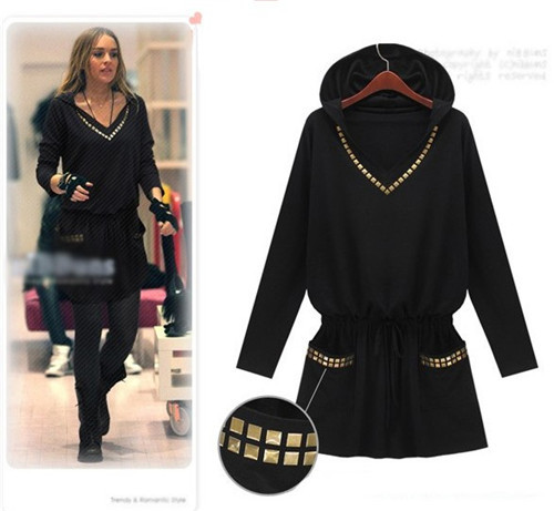 Plus size new 2014 england style punk women winter dress hooded slim long sleeve black dress