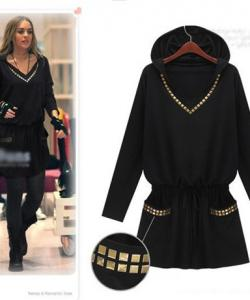 TUNIQUE ROBE RIVETS CAPUCHE BOHO BOHEME CHIC CELEBRITES D0581
