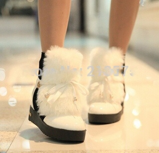 Plus size36 40 fashion elegant lady s short boots winter warm fur women ankle charming warm 1