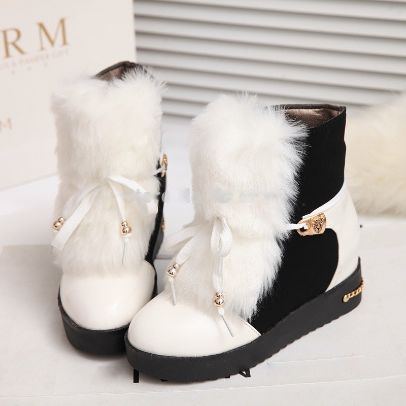 Plus size36 40 fashion elegant lady s short boots winter warm fur women ankle charming warm