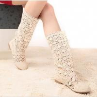 Spring summer boots women boots sweet cool boots knitted cotton lace flat heel high boots big
