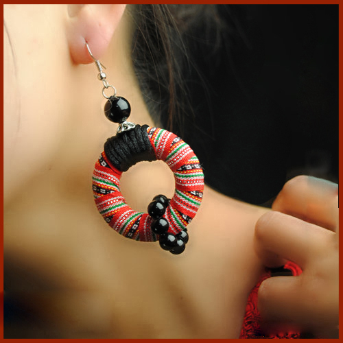 Star handmade vintage chinese wind fabric embroidery round dangle earrings new ethnic jewelry natioanl traditional earrings