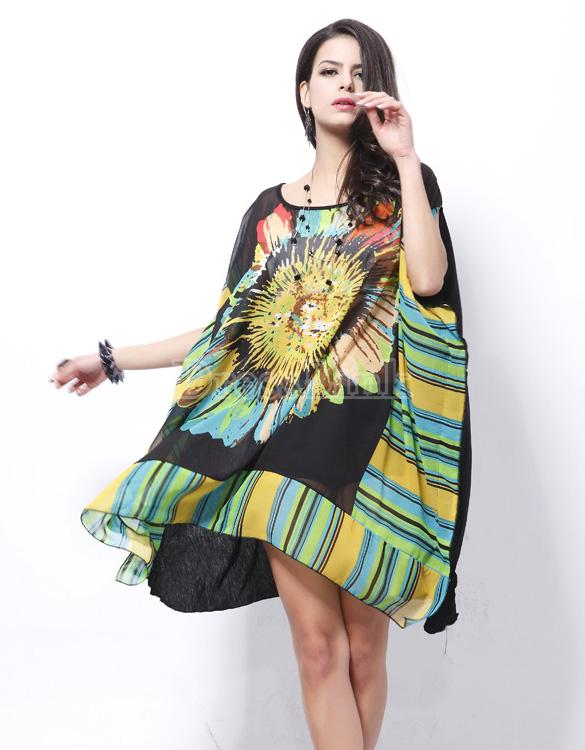 "ROBE TUNIQUE ""SUN FLOWER"" BOHO BOHEME CHIC D0529 36/46"
