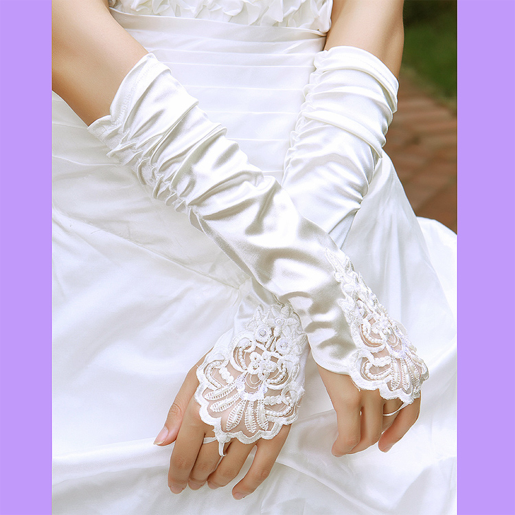 The bride wedding dress formal dress red lace fingerless embroidered lucy refers to gloves st13