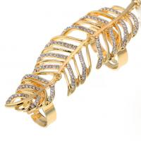 Top quality summer style 18k genuine gold feather crystals full finger rings for women nightclub armor