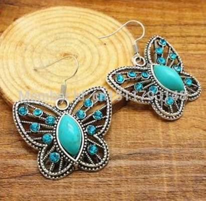 Tribal ethnic style tibetan silver inlaid natural turquoise beautiful butterfly crystal diamond swing earrings sa 008