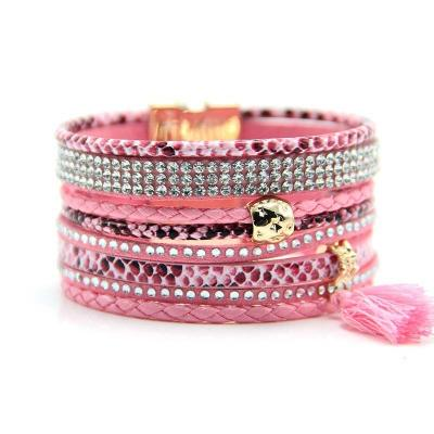 Bracelet multirangs tons roses boho boheme chic BANGLE0641