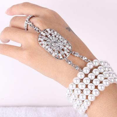 Bracelet main bague perles gatsby boho boheme chic bangle0383