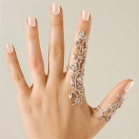 Vintage gold plated jewelry stainless steel chain two finger rings for women link double ring tree