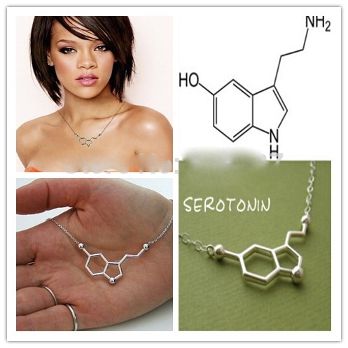 Wholesale high quality creative rhodium plated serotonin necklace silver serotonin molecules necklace