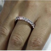 Wholesale oval cut eternity 5 ct solid sterling 925 silver wedding ring band jewelry created diamond 1