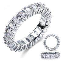 Wholesale oval cut eternity 5 ct solid sterling 925 silver wedding ring band jewelry created diamond
