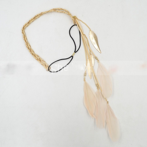 Women indian peacock feather tassels weave headdress hippie headband gift extension forehead hair head band 1