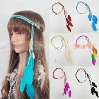 Women indian peacock feather tassels weave headdress hippie headband gift extension forehead hair head band