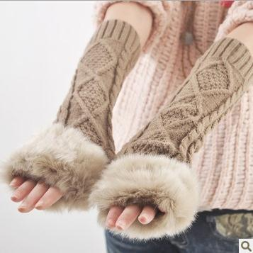 Women s imitation winter arm gloves knitted gloves cute half finger arm set for women wholesale