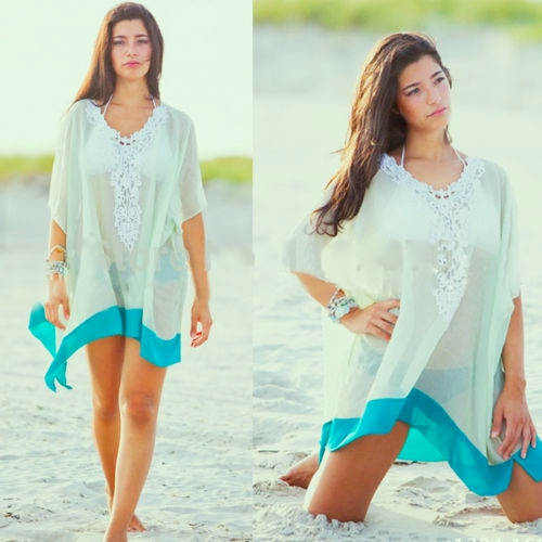 Women summer sexy beach sleeveless bikini cover up swimwear short macrame dress