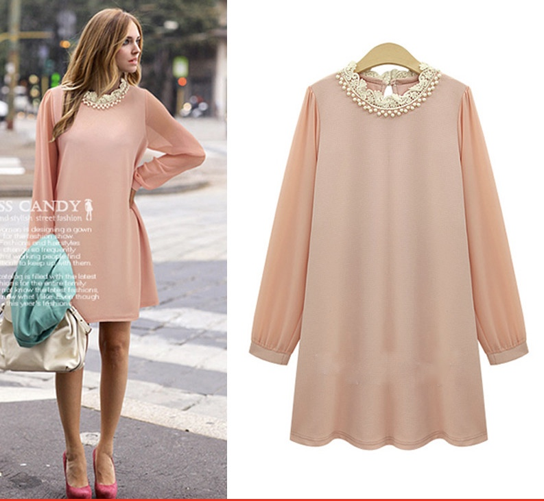 Xl 5xl plus size european 2015 autumn fashion tshirt dress long sleeve pink black chiffon beaded